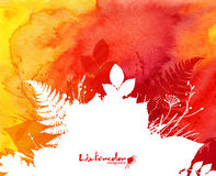 Oranje waterverfachtergrond met witte bladeren Royalty-vrije Stock Foto's