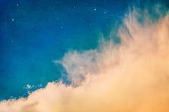 Oranje Wolken & Sterren Royalty-vrije Stock Foto's
