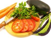 Oranje wortel van de slaboon de verse aubergine Stock Afbeelding