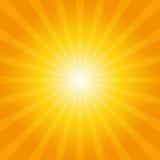 Oranje zonnestraalachtergrond Stock Illustratie
