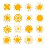 Oranje Zonpictogrammen Stock Fotografie
