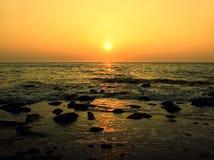 Oranje Zonsondergang Stock Foto's