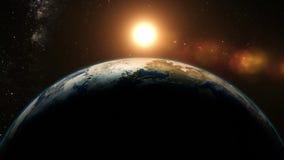 Oranje Zonsopgang over aarde royalty-vrije illustratie