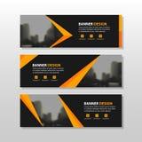 Oranje zwart driehoeks vierkant abstract collectief bedrijfsbannermalplaatje, het horizontale malplaatje reclame van de bedrijfsb stock illustratie