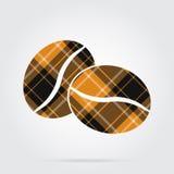 Oranje, zwart geruit Schots wollen stofpictogram - twee koffiebonen Stock Afbeelding