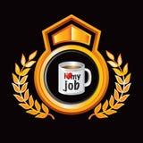 Oranje zwarte koninklijke vertoning met koffiemok royalty-vrije illustratie