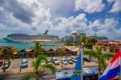 ORANJESTAD, ARUBA - NOVEMBER 05, 2015: Port used. ORANJESTAD, ARUBA - NOVEMBER 05, 2015: Downtown port and shopping disctrict used for tourism of cruise ships Stock Image