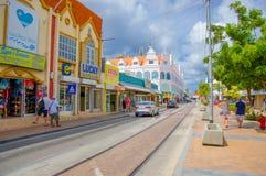 ORANJESTAD, ARUBA - NOVEMBER 05, 2015: Straten van Royalty-vrije Stock Fotografie