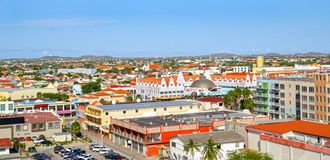 Oranjestad, Aruba. View from above of colourful buildings in Oranjestad on the island of Aruba royalty free stock photo