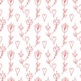 hearts and flowers. stylization of natural motive. Oranment in folk style. folk motif. stylized flowers. stock illustration