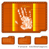 Orantsevy fingerprint, hand, high-tech future technologies, ther. Mal scanner. vector illustration Royalty Free Stock Photos