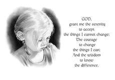 Oração da serenidade com o desenho de lápis da menina Imagem de Stock Royalty Free
