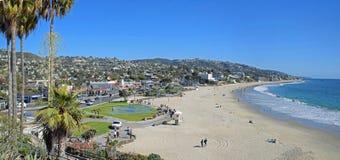 Orario invernale alla spiaggia principale in Laguna Beach, California Fotografia Stock