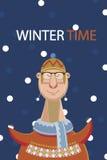 Orario invernale di Happys dell'uomo sul fondo della neve Illustrazione di vettore Illustrazione di Stock