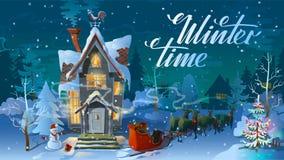 Orario invernale Notte del Natale, la casa della famiglia prima di una festa Un'illustrazione per la carta Manifesto del ` s del  Fotografia Stock