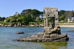 The Oratoire in  the sea of Ploumanac& x27;h Stock Image