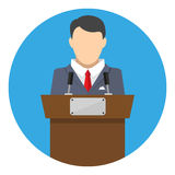 Orator speaking from tribune Royalty Free Stock Photography
