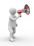 Orator speaks in megaphone Royalty Free Stock Photos