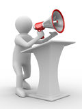 Orator speaks in megaphone Stock Images