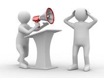 Orator speaks in megaphone Royalty Free Stock Photo