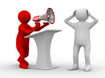 Orator speaks in megaphone Stock Image