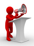 Orator speaks in megaphone Royalty Free Stock Photo