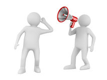 Orator speaks in megaphone Royalty Free Stock Photography