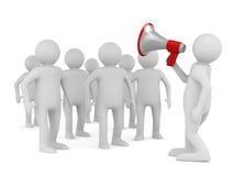 Orator speaks in megaphone Royalty Free Stock Images