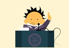 Orator. Speaks on the podium in microphone at the meeting Royalty Free Stock Image