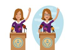 Orator speaks from rostrum. Publicly speech concept. Cartoon vector illustration. Isolated on white background vector illustration
