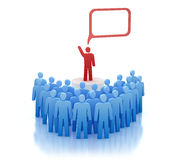 Orator on tribune - speaks in front of people Royalty Free Stock Image