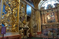 Oratory in St John`s Co-Cathedral, Valletta, Malta. It is unique due to Caravaggio& x27;s masterpiece and Malta& x27;s most famous artwork, The Beheading of Stock Photography