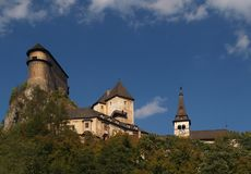 Orava Castle. Is considered to be one of the most interesting castles in Slovakia. It is situated on the high rock above the river Orava, in the village Oravsky Stock Photo