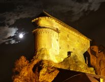 Orava Castle - At night. Rare view of famous Orava Castle at night. Orava Castle is considered to be one of the most interesting castles in Slovakia. This castle Royalty Free Stock Image