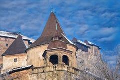 Orava Castle Oravsky hrad . Slovakia. Famous Orava Castle Oravsky hrad on background of beautiful cloudy sky. Tower closeup. Orava Podzámok. National stock photo