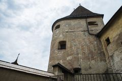 Orava Castle Oravsky hrad . Slovakia. View from inside to drawbridge and main gate of Orava Castle Oravský hrad. Orava Castle is located in Oravsky Podzamok stock image