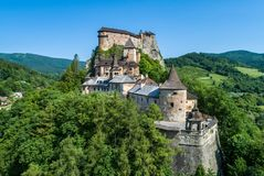 Orava castle in Slovakia. Aerial view. Orava castle - Oravsky Hrad in Oravsky Podzamok in Slovakia. Medieval stronghold on extremely high and steep cliff. Aerial royalty free stock photo