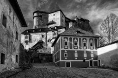 Courtyard at Orava castle, Slovakia stock photos