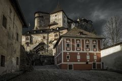 Courtyard at Orava castle, Slovakia royalty free stock photography
