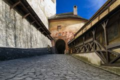 Orava castle, Slovakia. Drawbridge in Orava castle in village Oravsky Podzamok, Slovakia royalty free stock photography