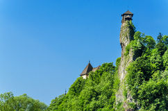 Orava castle tower in Oravsky Hrad, Slovakia. Orava castle tower, on the background of the blue sky, one of the most beautiful Slovak castles, Orava Podzamcze stock photography
