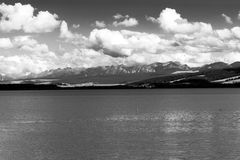 Orava reservoir with mountains in the background. Orava reservoir with High Tatras royalty free stock photos