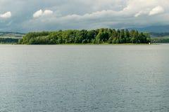 Orava reservoir and Slanicky island. Orava reservoir with Slanicky island stock photo