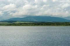 Orava reservoir from various angles. With sun stock image