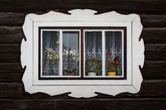 Oravsky Biely Potok village in Orava region. Window of a traditional log cabin, Orava region, Slovakia stock photos