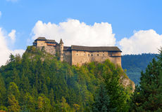 Oravsky Castle in Slovakia. Medieval castle Oravsky Hrad in Slovakia. Upper part stock photos
