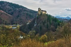 Oravsky Hrad castle. Over river Orava from north during spring, Europe, Slovakia stock photography