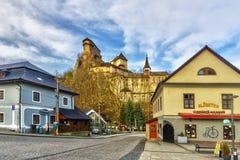 Oravsky Podzamok village under Oravsky Hrad castle. During spring, Slovakia, Europe stock image