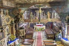 Εσωτερικό του ST John η βαπτιστική εκκλησία - Orawka, Πολωνία. Στοκ Εικόνες