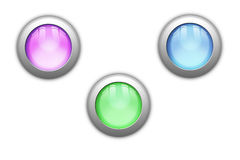 Orb Buttons. Tree shiny orb buttons, with reflections royalty free illustration